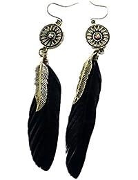 1 Paire Boucles d'Oreilles Crochets d'Oreilles à Plume Punk Bijoux Fashion pour Femme - Noir