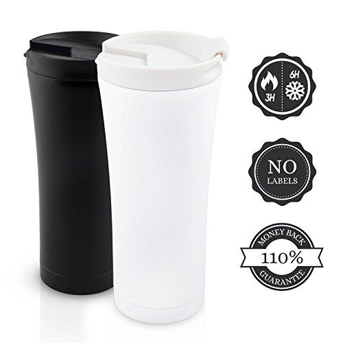 Isolierbecher to go Auslaufsicher 450 ml Matt-weiß. Premium Design Kaffee Thermobecher Edelstahl Schwarz/Weiß. 110% Geld-zurück-GARANTIE Kaffee Travel Mug Gold