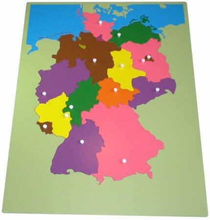 Deutschlandpuzzle Montessori-Material aus Holz, ca. 57 x 44 cm groß