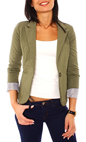 Easy Young Fashion Damen Casual Sweat Jersey Blazer Jacke Sweatblazer Jerseyblazer Kurz Gefüttert 3/4 Arm Khaki Dunkel S 36 (M) -