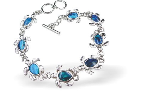 Exquisite natural Paua Shell Turtle Bracelet in gorgeous blue/green, (P326) 23mm length with two link options to adjust size.