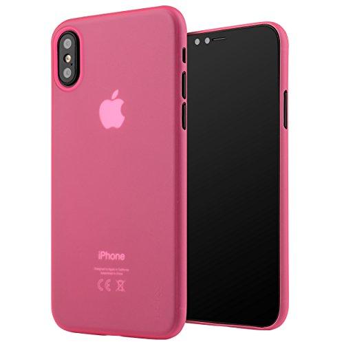 iPhone X Hülle ultra dünn, Liamoo® Case [ unterstützt kabelloses Laden ] in matt pink [ 0,35 mm slim | 4g leicht ] dünnste Handy-Cover mit Kamera-Schutz für Apple iPhone 10 (4 Iphone Case Pink)
