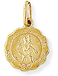 Jewelco London 9ct Gold Scallop St. Christopher Medallion Charm Pendant - 12mm