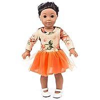 Vestido Estampado Verano Manga largas Tutu Falda para 18 Pulgadas muñeca  Americana Accesorio de Juguete de 0c0ced17791