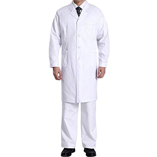 Laborkittel Herren Kittel Medizin Arztkittel weiß mit Knöpfe Labormantel Männer Berufsbekleidung (XXL) - Kittel Mann