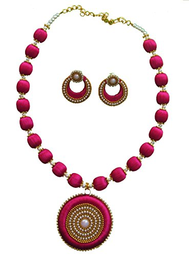 MDS Magenta Silk Thread Necklace with DOUBLE SIDE Dollar and Earrings Jewellery set for Beautiful Women (MDS-1010) (Magentra)