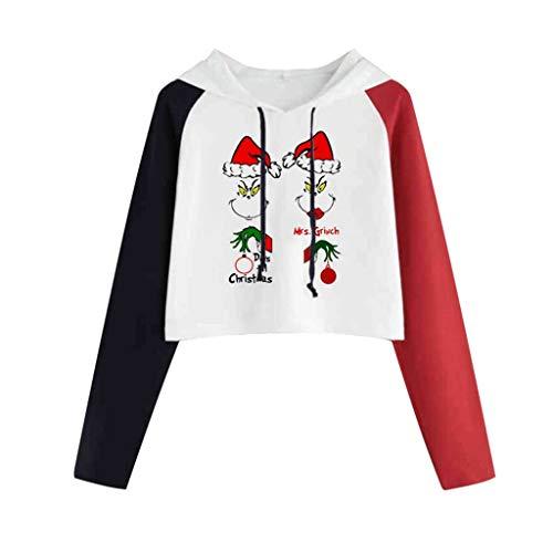 50's Kostüm Kleinkind Girl - INLLADDY Hoodie Frauen Langarm Kurzarm Pullover Weihnachtsdruck Top Kleidung Sweatshirt J L