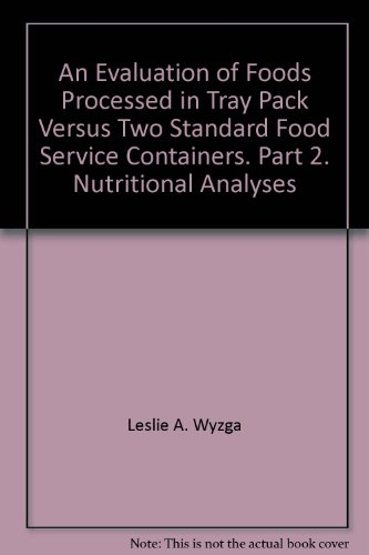 An Evaluation of Foods Processed in Tray Pack Versus Two Standard Food Service Containers. Part 2. Nutritional Analyses Food-service-container