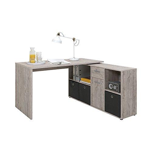 FMD Möbel 353-001 Schreibtisch-Winkelkombination Tisch ca. 136 x 75 x 68 cm, Regal ca. 137 x 71 x 33 cm - 3 Regal Eiche Tisch