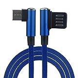 Big-Mountain  Geflochtene Nylon Kabel Ladegerät USB Fast Data Charger 90 Grad rechtwinklig Typ-C/Micro Sync (Blau)