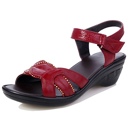 TAOFFEN Women Comfortable Slingback Open Toe Velcro Wedges Heel Summer Sandals 965 Rouge