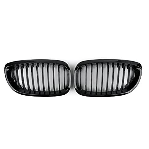 Areyourshop Front Fence Grill Grille ABS Gloss Black Mesh For BMW E46 2D 2002-2007 3 Series