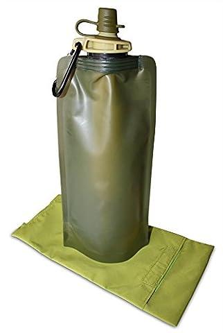 Gourde filtrante idéale pour la randonnée - Bouteille pliable avec filtre a eau purifiant l'eau à 99,99 % - Bidon sport souple purificateur d'eau à 0,1 micron - poche a eau légère et compacte de