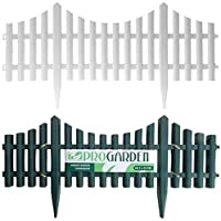 SET OF 4 PLASTIC WOODEN EFFECT LAWN BORDER EDGE GARDEN EDGING PLANT PICKET FENCING PANELS SET (White)