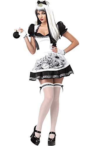 Generique - Alice Kostüm sexy schwarz und weiß Damen Halloween XL - Schwarz Und Weiß Alice Kostüm