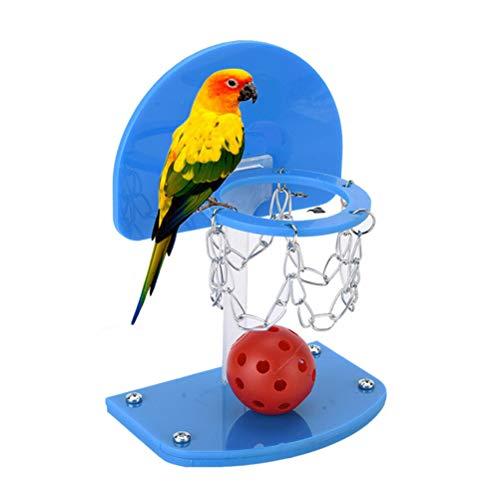 POPETPOP Mini Basketball Set Pallacanestro Gioco Tavolo da Tavolo Giochi di Basket Fun Sports Toy per Parrot Blue Taglia L