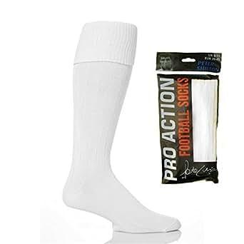 Peter Shilton Pro Action - Chaussettes hautes -  - Uni Homme Multicolore Bigarré -  Blanc - Blanc - Large