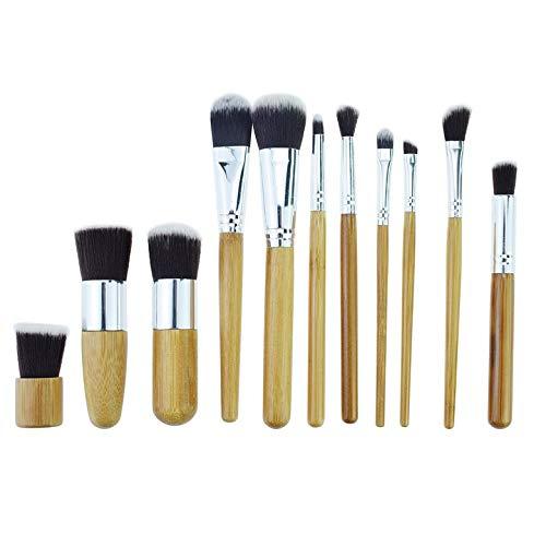 11 PCS/SET Manche En Bois Maquillage Du Visage Brosse Doux Fibre Cheveux Ombre À Paupières Fondation Sourcils Eyeliner Cosmétique Outil