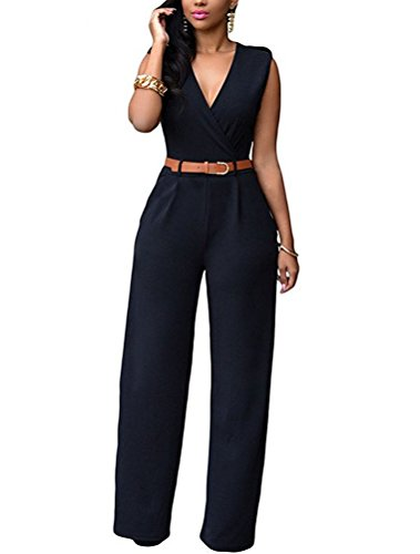 85398d9cc29 LAEMILIA Elegant Damen Jumpsuit Ärmellos V-Ausschnitt Hohe Taille  Hosenanzug Playsuit Overall Suit Einteiler Party