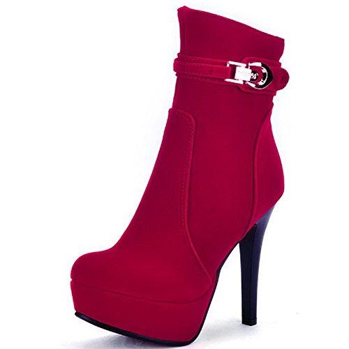 AgooLar Damen Eingelegt Nubukleder Hoher Absatz Reißverschluss Stiefel mit Metalldekoration Rot
