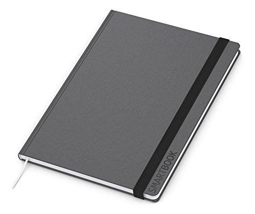 Geiger-Notes – Smart-Book, Notizbuch A4, 192 Seiten plus Einstecktasche, kariert, Hardcover anthrazit mit Gummiband-Verschluss