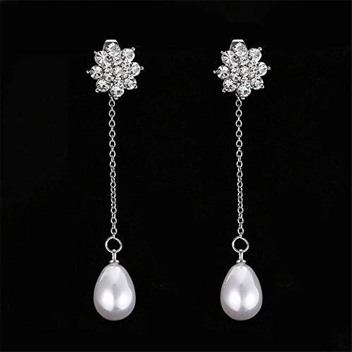 creatspaceDE Frauen einfache Perlen-Haken-Ohrringe baumeln runde Frischwasser Kultivierte weiße Perlen-Ohrringe Schmuck Valentinstag Geschenke E279 Farbe: Weiß