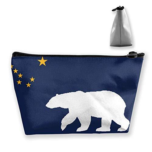 Alaska-Flaggen-Eisbär-tragbare Reise-Kosmetik-Beutel-Speicher-Make-upbeutel -