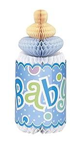 Partido Ênico de 12 pulgadas Honeycomb Lunares botella en forma de Baby Shower Decoración (azul)