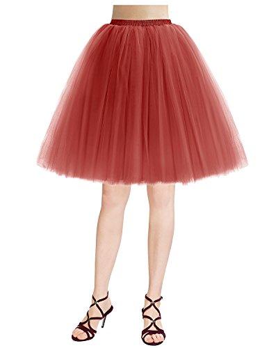 Bridesmay Damenrock 50S Retro Tüllrock Vintage Tutu Petticoat Partykleid Red (Für Tutu Frauen Red)