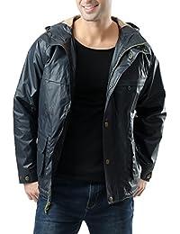 BGSD Luxury Lane Men's Outdoor Waterproof Hooded Jacket - Navy L