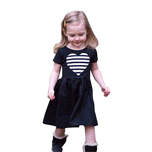 Minetom Sommer Kinder Mädchen Prinzessin Shirts Kleider Süß Herz Gestreiften Rundhals Kurzarm Elastizität Sommerkleid Partykleid Schwarz B 120