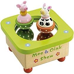 Tidlo T0054 - Caja de música con figuras de vaca y cerdo