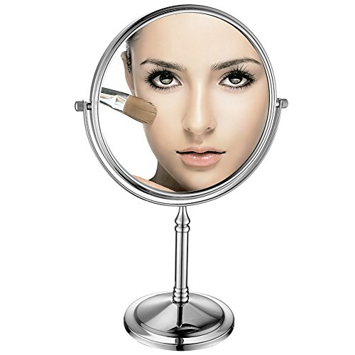 GuRun Doppelseitiger Kosmetikspiegel, 1/5-Fach Vergroesserung, Durchmesser 20cm, verchromte Kupfer...
