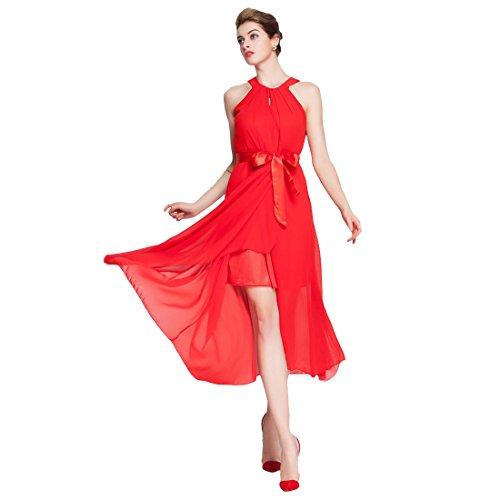 Find Dress Sexy Robe de Cocktail/Soirée Courte Femme Fille Grande Taille Robe pour Bal de Promo Party Occasion Grande Robe Demoiselle d'Honneur Princesse Fille été Mousseline de Soie Rouge