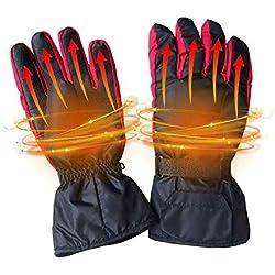 Aolvo - Guantes de Invierno con calefacción DE 4,5 V para Mujer y Hombre (Impermeables, aislados para Senderismo, esquí, Ciclismo y Caza), Color Negro
