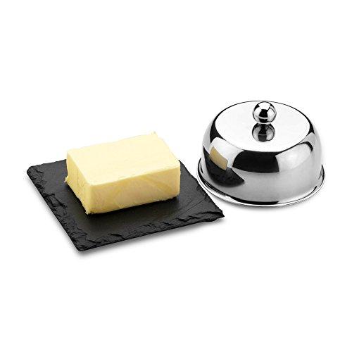 Commichef Edelstahl Butter Cloche Set, Schiefer Butter Dish Set