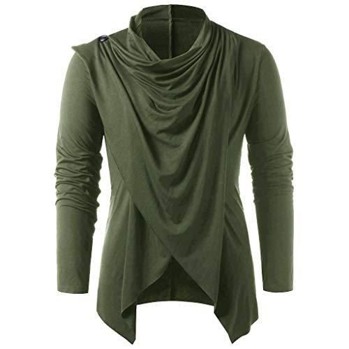 648defed HLHN Men T-Shirt Asymmetric Cardigan Long Sleeve Tops Turtleneck Vintage  Pullover Winter Spring Blouse