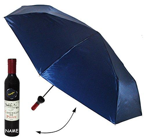 """Taschenschirm - """" in Weinflasche - blau / dunkelblau """" - ø 98 cm - incl. Name - Regenschirm / Erwachsenenschirm / Kinderschirm / - Weinliebhaber - Weine - für Damen / Frauen & Herren - Erwachsene - Sturmfest - zusammenklappbarer Schirm - Winzer - Weinrebe Weinernte - Weinlese"""