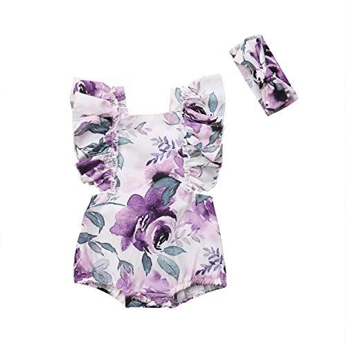 CIPOPO Sommer Neugeborenen Baby Mädchen Blumen Drucken Ärmellos Ruffle Rose Body Strampler Overall Romper Playsuit Kleidung Outfit (9-18 Months, - Denim Romper Kostüm