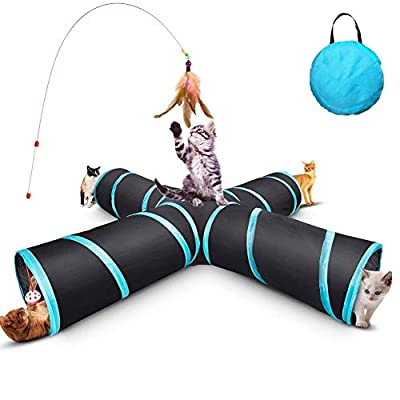 GXL Cat Tunnel Toy, Upgraded Collapsible 4 Way Pet Play Tunnel Tube Storage Bag & Catnip Toys for Large Cats,Dogs,Rabbits,Indoor/Outdoor Use