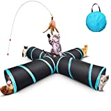 GXL Cat Tunnel Toy, Upgraded Collapsible 4 Way Pet Play Tunnel Tube Storage