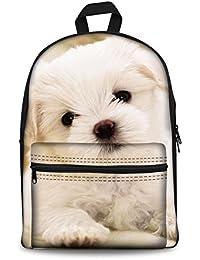 HUGSIDEA Classic Canvas Backpack For Teenagers Girls Dogs Printed Cute Kids School Bag Bookbag