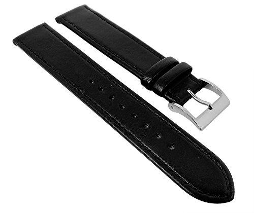 Junghans MAX BILL Ersatzband Uhrenarmband Leder schwarz 18mm 027/3700
