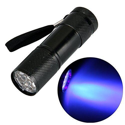 UV Torcia Elettrica, 9 LED Lampada Ultravioletti, 395nm, Animali Urina Cane/Gatto Smacchiatore Rivelatore (Batterie Non Incluse) by feierna