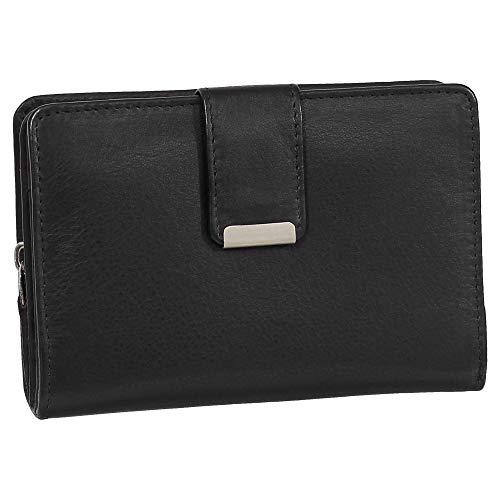 Damen Leder Geldbörse Damen Portemonnaie Damen Geldbeutel - Farbe schwarz - Geschenkset + exklusiven Ledershop24 Schlüsselanhänger