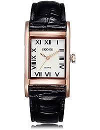 Skone Mujer Negro Piel de banda roma relojes de cuarzo números oro Rectángulo Case White Dial 505803