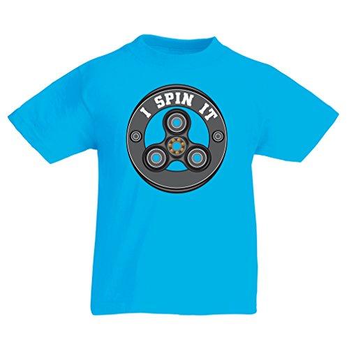 Enfants garçons/Filles T-Shirt I Spin it - pour Les Fans de Jouets Fidget Hand Spinner (9-11 Years Bleu Clair Multicolore)