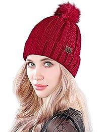 MUCO Mujer Gorro Invierno Sombrero Tejido Punto Grueso Cálido Sombrero  Pelota Pelotas Sombrero Dragón Burbuja… 63e190092b2