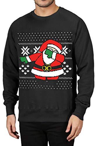 Zonsaoja Herren Ist Weihnachten Sweatshirts Hässlich 3D Drucken Dabbing Santa Pullover schwarz XL