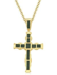 Silvernshine His Her 14K Yellow Gold FN Green Garnet CZ Diamonds Micro Pave Cross Pendant Necklace